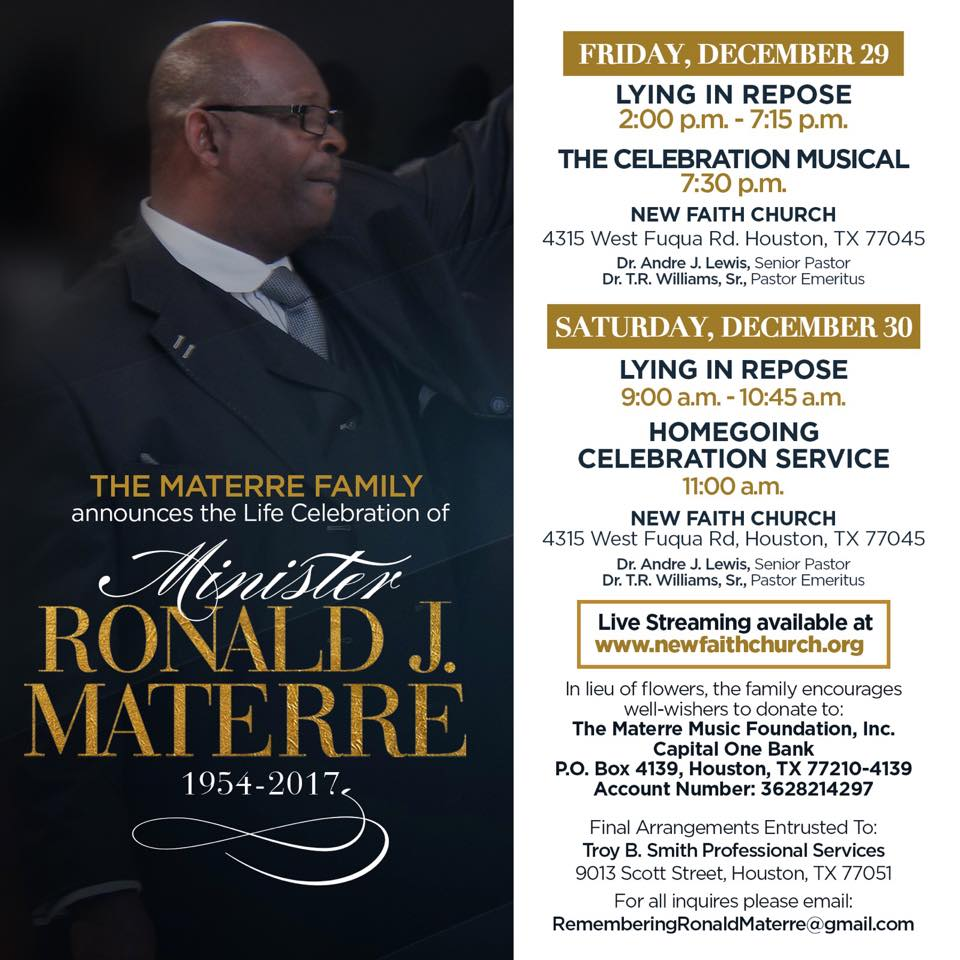 Ron Materre funeral arrangements