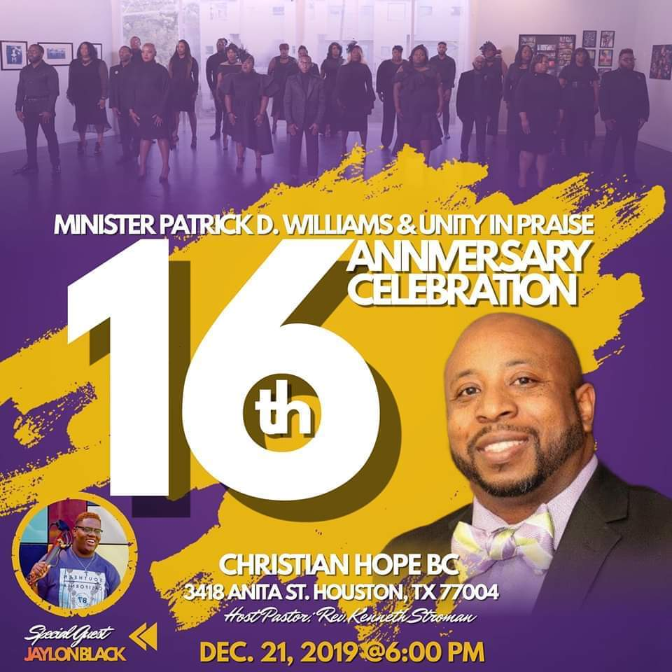 Patrick Williams and Unity in Praise 16th anniversary