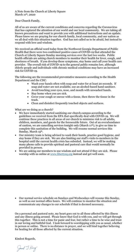 Coronavirus Liberty Church statement