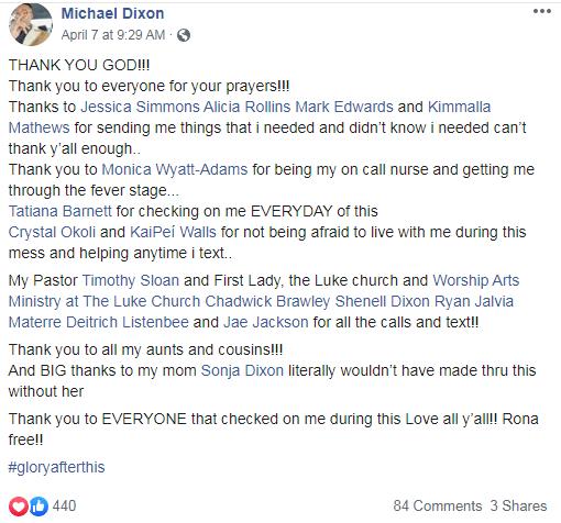 Michael Dixon COVID-19 Facebook post
